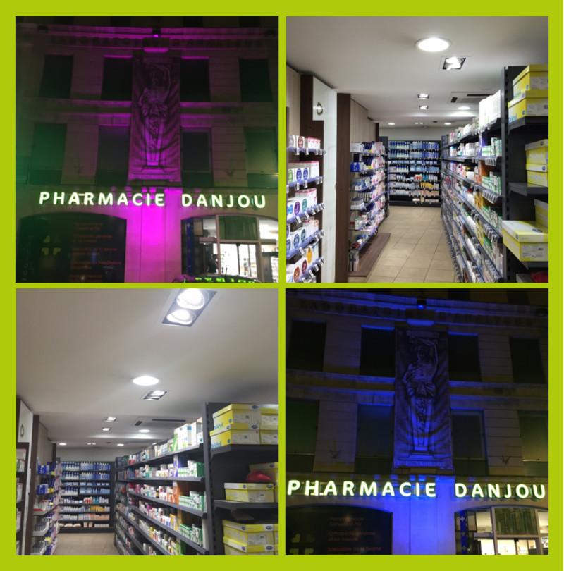 Eclairage intérieur extérieur pharmacie Danjou Caen