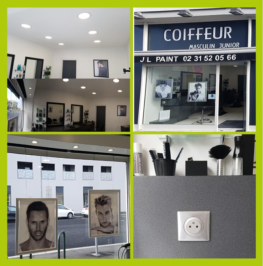 Pose éclairage intérieur, pose éclairage extérieur salon de coiffure à Caen