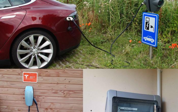 Borne-de-recharge-véhicule-électrique-Tesla-à-Caen