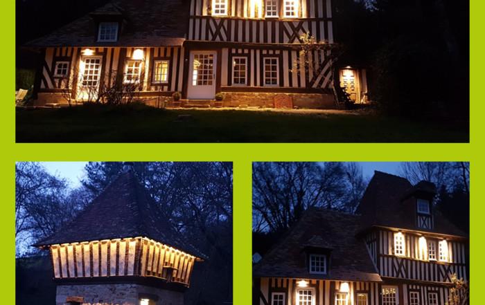 Mise en ambiance lumineuse d'un manoir, éclairage d'un édifice, électricien Caen-Deauville